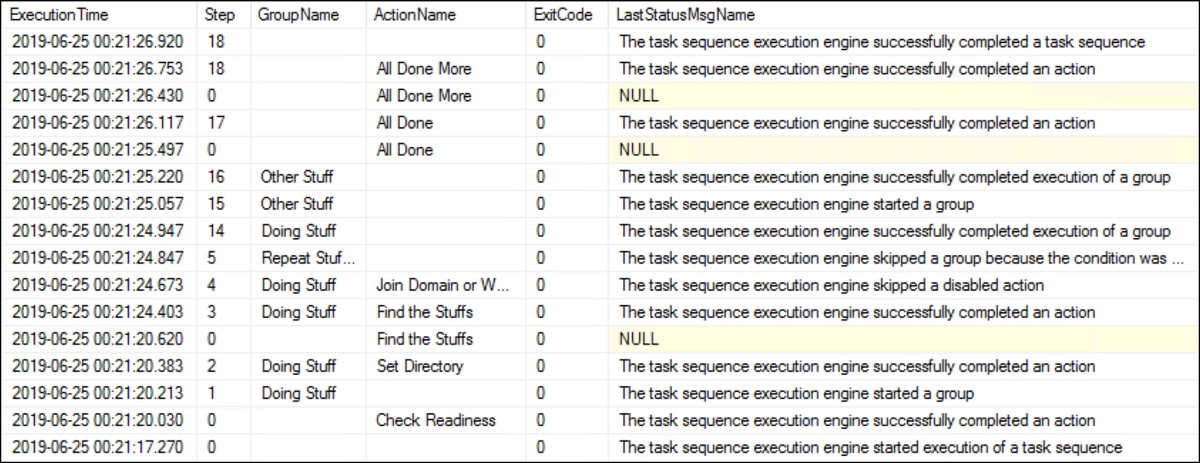 SQL Task Sequence query results