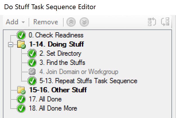 Task Sequence with numbers