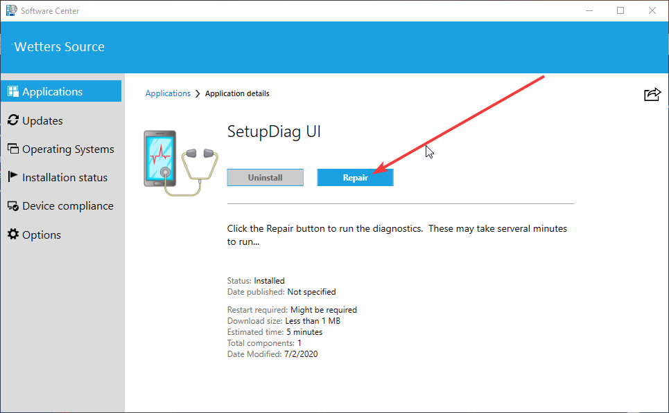 Software Center SetupDiag UI With Repair